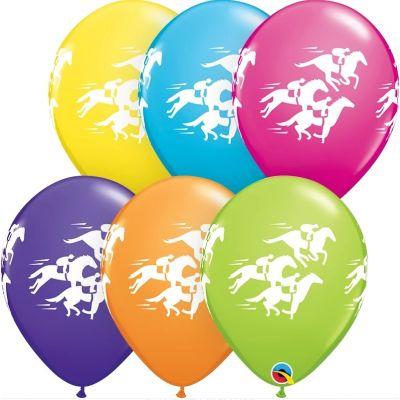 "Qualatex Printed Latex 25/28cm (11"") Race Horses (Tropical Assortment)"