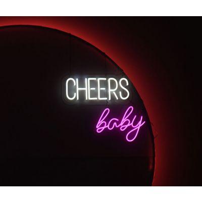 LED Sign Baby (40cm x 29cm) Rose Pink