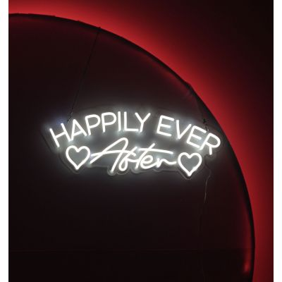 LED Sign Happily Ever After (75cm x 28cm) White