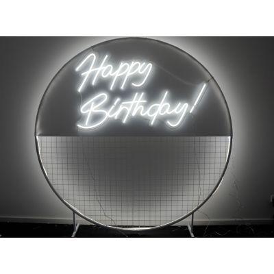 LED Sign Cursive Happy Birthday (130cm x 85cm) White