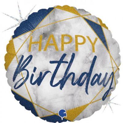Grabo Foil Round 45cm - Blue Marble Happy Birthday