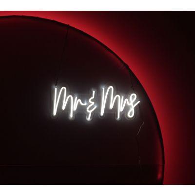 LED Sign Mr and Mrs (60cm x 24cm) White