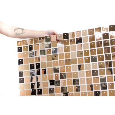 "(30cm x 30cm) Shimmer Sequin Wall Panel - Metallic ""Pink"" Rose Gold"