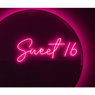 LED Sign Sweet 16 (120cm x 51cm) Light Pink