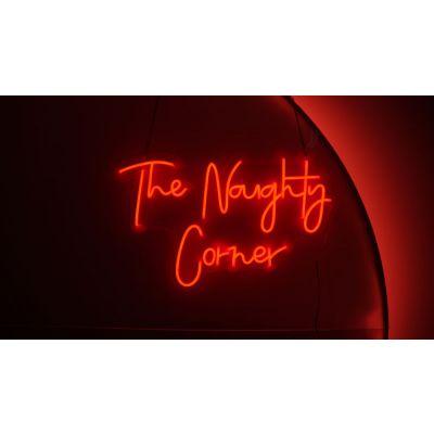 LED Sign The Naughty Corner (65cm x 40cm) Red