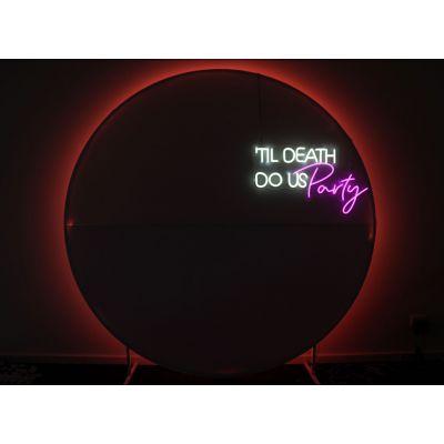LED Sign Til Death Us Do Us Party (75cm x 45cm) White & Rose Pink