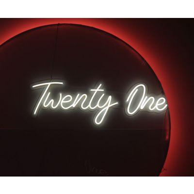 LED Sign Twenty One Script (120cm x 51cm) White