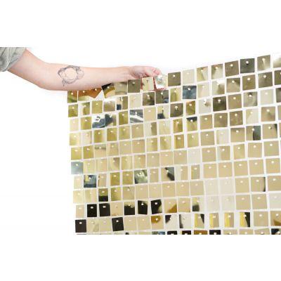 (30cm x 30cm) Shimmer Sequin Wall Panel - Metallic White Gold
